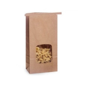 50 1 Lb. Tin Tie Bag Bakery Bag w/ Window - Kraft