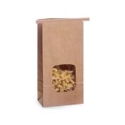 50 1 Lb. Tin Tie Bag Bakery Bag w/ Window - Kraft
