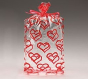 (100) Clear with Red Hearts Cellophane Bags