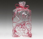 (100) Red Jewel Swirl Design on Clear 28cm Cellophane Bags
