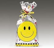 (100) Smiley Face Cellophane Gift Bags