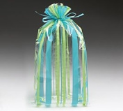 (100) Sweet Stripe Blue and Green 28cm Cellophane Bags