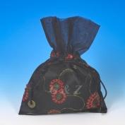 Dozen of 16cm X 23cm Satin Embroidery Pull-close Pouches