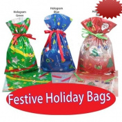 GiftMate 12-Pc. Christmas Holographic Drawstring Gift Bags