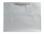 Jillson Roberts Large Gift Bag, Silver Matte, 6-Count