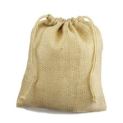 30cm x 36cm Burlap Jute Favour Party Gift Bags with Drawstring (Pack of 10) - Ivory