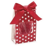 (12) Red & White Dotted Party Gift Bag with Bow Holiday Party Cello Satin Acetate