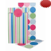 The Gift Wrap Company Sweet Sacks, 6 with Seal/ 6 with Stripes and Spots, 12 Count