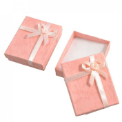 Rosallini 2 x Bowtie Accent Cardboard Gift Cases Present Boxes Bracelet Holder Peach Pink