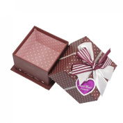 Rosallini Red White Polyester Bowknot Decor Square Shaped Cardboard Gift Case Box