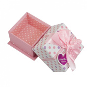 Rosallini Pink Polyester Bowknot Decor Square Shaped Cardboard Gift Case Box