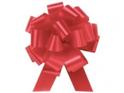 IMPERIAL RED Pull String Bows - 14cm Wide 20 Loops (1 & 2.2cm ribbon) Set of 10