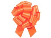 ORANGE Pull String Bows - 14cm Wide 20 Loops (1 & 2.2cm ribbon) Set of 10
