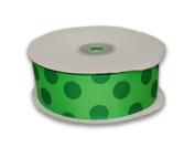 Apple Green with Emerald Dots Grosgrain Ribbon Jumbo Dots 3.8cm 25 Yards