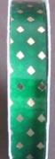 Berwick Brilliance Craft Trim GLITZ RIBBON 1.3cm Wide x 12 FEET Long KELLY GREEN w GOLD 'Diamond' Shapes