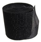 Black Diamond Mesh Wrap Roll Rhinestone Crystal Ribbon 11cm x 10 yards