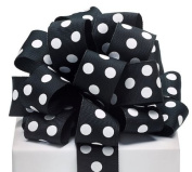 #9 Black Grosgrain Wired Ribbon with White Polka Dots