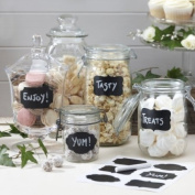 Ginger Ray Reuseable Chalkboard Sticker Labels X 12 with Chalk - Jam Jar Blackboard