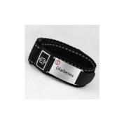 Diabetes Black Medical hook and loop Sport Strap with Engravable Stainless ID Tag Adjustable 4 1/2 - 14cm