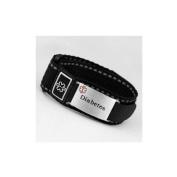 Diabetes Black Medical hook and loop Sport Strap with Engravable Stainless ID Tag Adjustable 5 1/2 - 20cm