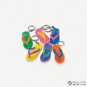 12 Rubber Flip Flop Keychains Bright Colour Sandal Luau Pool Party Favours