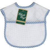 "Quilted Baby Bibs 23cm X9""-White With Blue Gingham Trim"