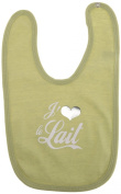 "Outchi Coutchi OC3013 Bib in French ""J'aime le Lait"" (I Love Milk) Light Green"