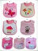 BABY GIRLS BIBS CHOSE FROM 1 - A PACK OF 7 ADORABLE BIBS,FULLY LINED,INNER PVC WATERPROOF 100% COTTON SUITABLE FROM NEWBORN - 3 YEARS