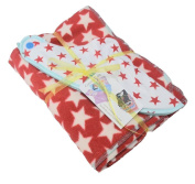 Cornish Daisy Red and White Star fleece blanket and dribble bib gift set