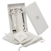 Baby Christening Silverplated 3 Piece Cutlery Set - Knife Fork & Spoon
