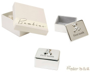 Bambino Baby Christening Gifts. Silverplated First Tooth Keepsake Box with Teddy Bear Decoration