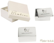 Bambino Baby Christening Gifts. Silverplated Baby's Keepsake Box with Pram Decoration