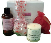 Romantic Night In Gift Set with Sensual Massage Oil, Heart Bath Bomb and Scented Candle Ideal for Valentine or Couples Gift to share