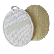 Double sided cotton waffle and exfoliating loofah wash and bath pad