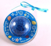 Gift packaged 30g fragranced round soap - blue in colour