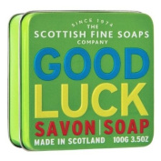 """SOAP in a tin of Scottish fine soaps - """"Good Luck"""" 100 g"""