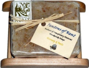 Fentons of Kent Handmade Natural Honey & Oats Soap on a wooden Ladder Style Soap Dish. Does not contain any essential oils