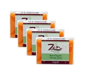 Zen Personal Care Orange Organic Soap 100gms ea Pack of 4