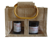 Aromatherapy gift - sea buckthorn cream and soap in a two window jute bag