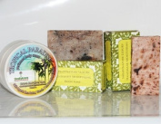 Set of 3 Shea Butter Hand Made Products, Creamy Shea Butter Body Moisturiser Cream with Tropical Paradise Scent (160ml), Body Polishing Shea Butter Soap with Shea Nut, Coffee, Palmarosa and Orange (115-135g) & Moisturising Shea Butter Soap ..