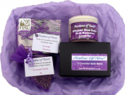 Fentons of Kent Lavender Gift Set Collection - Natural Soap, Whipped Shea Butter (Body Butter), Bath Melts & Pouch made using essential oil