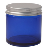 Elixirs of Life - 60ml Empty Blue Glass Jar with Aluminium Lid for Aromatherapy, Cosmetics and Cream
