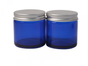 Elixirs of Life - Two 60ml Empty Blue Glass Jars with Aluminium Lid for Aromatherapy, Cosmetics and Cream