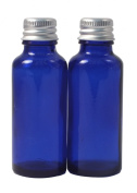 Elixirs of Life - Two 30ml Empty Blue Glass York Bottles with Aluminium Lids for Aromatherapy and Cosmetics