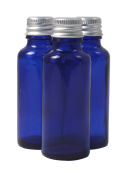 Elixirs of Life - Three 30ml Empty Blue Glass York Bottles with aluminium lids for Aromatherapy and Cosmetics