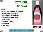 777 Oil 100ml For Apthous Ulcers of Mouth First-degree Burns Ulcerative Gingivitis Fungal Dermatosis Icthyosis Fissure Foot Dandruff Psoriasis *Ship from UK