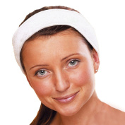 4 x Micro-Pro Microfibre White Cotton Hair Head Band Wrap hook and loop Spa Headband