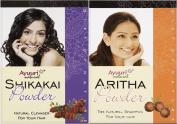 Ayuuri Shikakai (Acacia) & Aritha (Soap Nuts) Powder Combo Pack (100g x 0.9ly Each) - Natural Ayurvedic Hair Conditioner & Shampoo Powder