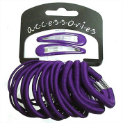 22 Piece Hair Elastics With 2 Sleepies Hair Clips Choice Of Colours