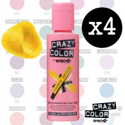 Crazy Colour Semi Permanent Hair Dye By Renbow Canary Yellow No.49 (100ml) Box of 4